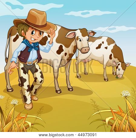 Illustration of a cowboy with two cows eating