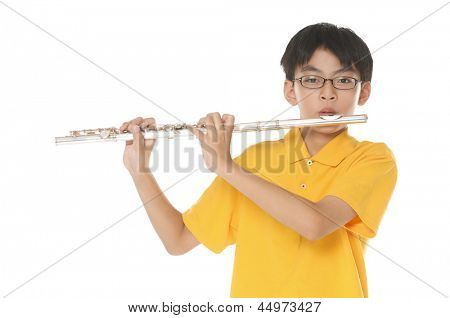 Teenage kids playing flute. White background