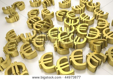An image of some golden euro signs on a white background