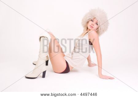 Attractive Young Girl In Furry Hat