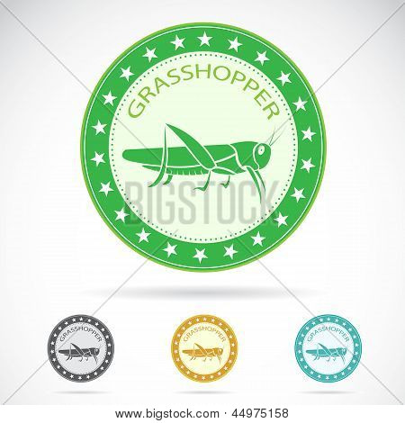 Set of vector grasshopper label