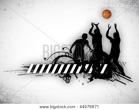 Illustration of a basketball players practicing with ball at court on  abstract grungy background. EPS 10.