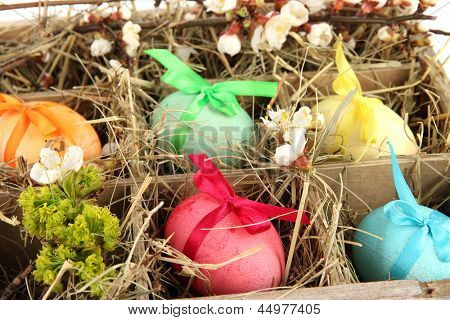 Easter eggs in wooden box with hay close-up