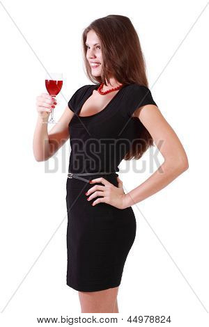 Beautiful Smiling Girl Holds Glass Of Red Wine Isolated On White Background.
