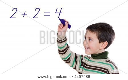 Adorable Child Writing A Sum