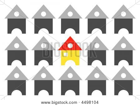 Group Of Houses Arranged In Row Formation