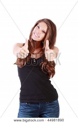Young Happy Woman Thumbs Up By Two Hands Isolated On White Background.