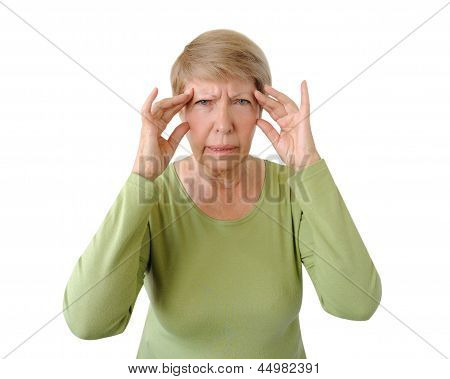 Old Woman With A Headache Isolated On The White Background