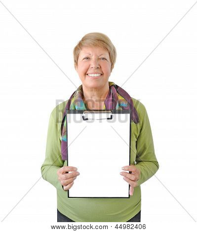 Smiling Woman In Green With A Tablet Isolated On White Background