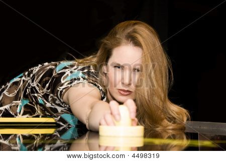 Woman Playing Air Hockey Game
