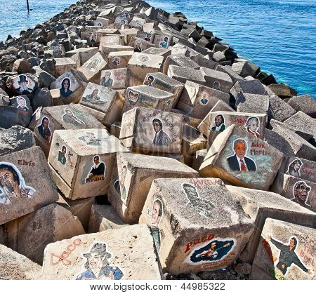 SANTA CRUZ DE TENERIFE, SPAIN - SEP 16: Graffiti on a stones of a breakwater on Sep 16, 2011 in Santa Cruz de Tenerife, Spain. Tribute to the King of Pop, died on June 25, 2009.