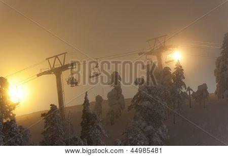 Ski Elevator Or Lift At Night