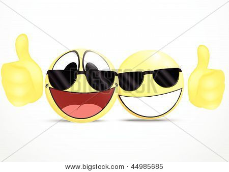 Emoticon Wearing Glasses with Thumb .business