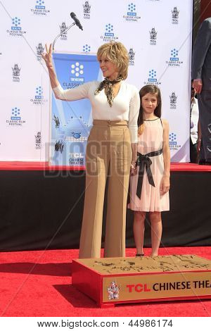 LOS ANGELES - APR 27:  Jane Fonda, Viva Vadim at the Jane Fonda Hand and FootPrint Ceremony at the Chinese Theater on April 27, 2013 in Los Angeles, CA