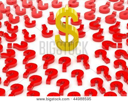 Dollar sign surrounded by question marks.