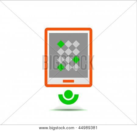 Simple stylized colorful icon - tablet design