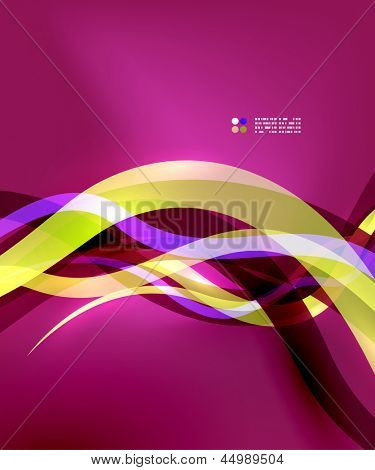 Transparent colorful wave lines with light effects. Vector abstract background design template