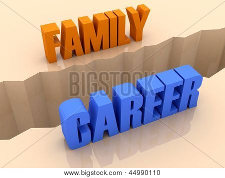 Two words FAMILY and CAREER split on sides separation crack.