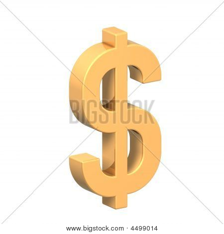 Gold Dollar Sign Isolated On White