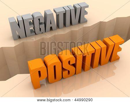 Two words NEGATIVE and POSITIVE split on sides separation crack.