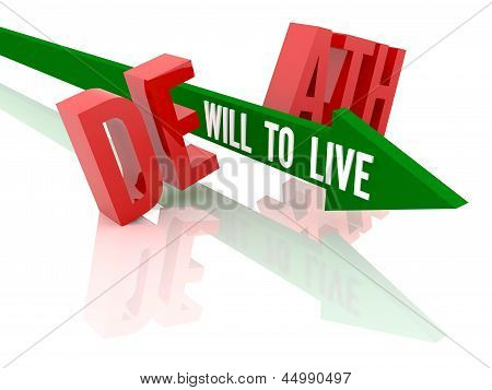 Arrow with phrase Will to Live breaks word Death.