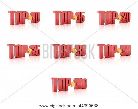 Set of Tops. Red on white background.