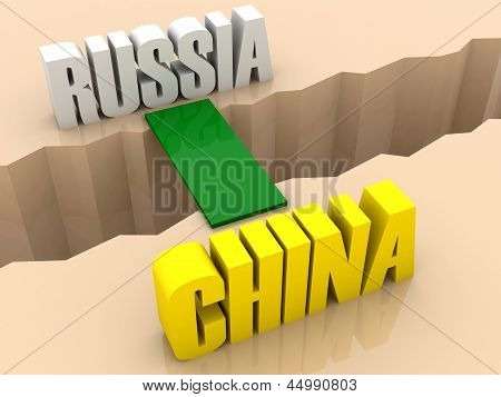 Two countries RUSSIA and CHINA united by bridge through separation crack.
