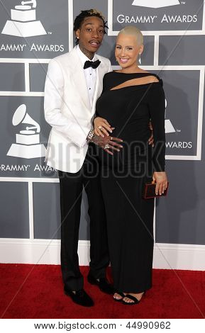LOS ANGELES - FEB 10:  Wiz Khalifa & Amber Rose arrives to the Grammy Awards 2013  on February 10, 2013 in Los Angeles, CA.