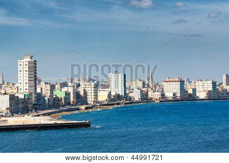 The Havana skyline facing the sea on a beautiful summer day