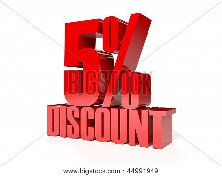 5 percent discount. Red shiny text.