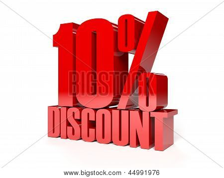 10 percent discount. Red shiny text.