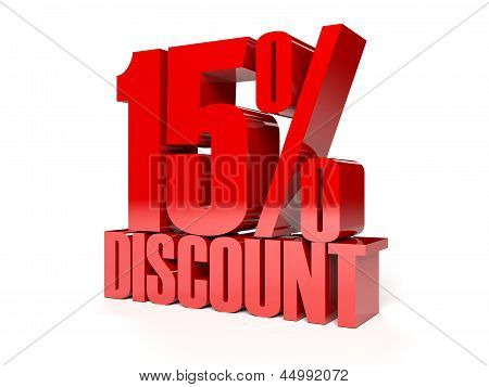 15 percent discount. Red shiny text.