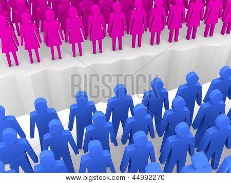 Men and women split on sides separation crack. Concept 3D illustration.