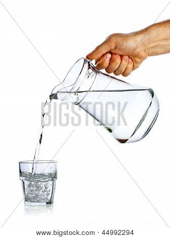 Hand Pouring Water From Glass Jug