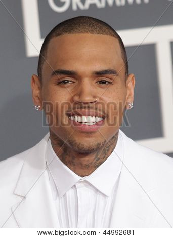 LOS ANGELES - FEB 10:  Chris Brown  arrives to the Grammy Awards 2013  on February 10, 2013 in Los Angeles, CA.