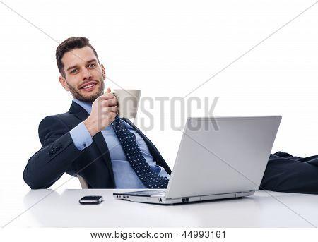 Businessman relaxing in break time