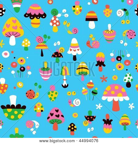 mushrooms & snails cute kids pattern