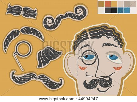 Gentleman Face And Mustaches.vector Fashion Elements For Design