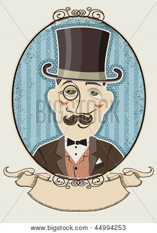Retro Gentleman Portrait In A Top Black Hat.vector Man In Vintage Decor Frame