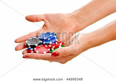 Female Hands Holding Poker
