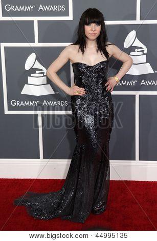 LOS ANGELES - 10 de fev: Carly Rae Jepsen chega a 2013 de prêmios Grammy, em 10 de fevereiro de 2013 em L