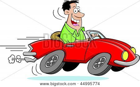 Cartoon Man Driving a Car