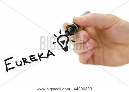 Masculino mão escrita Eureka em uma tela Virtual