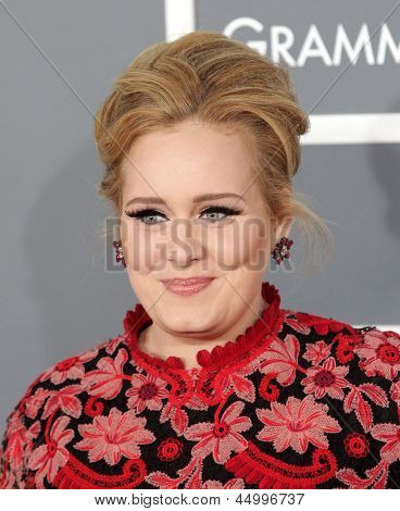 LOS ANGELES - FEB 10:  Adele arrives to the Grammy Awards 2013  on February 10, 2013 in Los Angeles, CA.