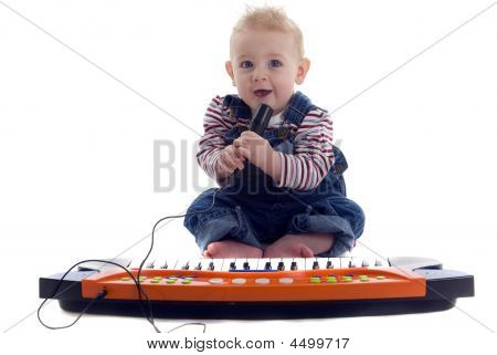 Musical Baby Plays The Keyboard And Sings Karoke
