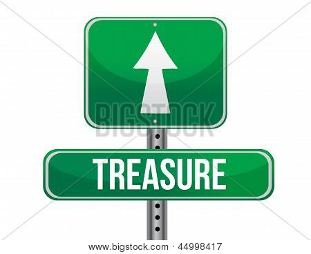 Treasure Road Sign Illustration Design