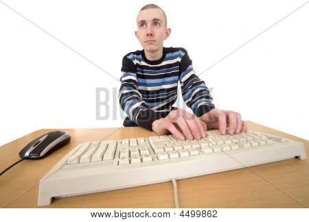 Man Working On Keyboard