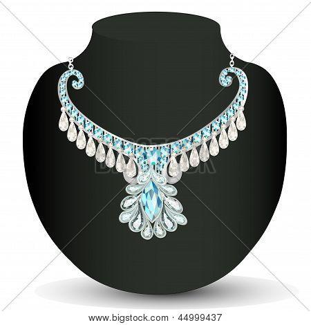 Boda de la mujer del collar con piedras preciosas