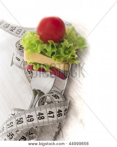 vegetables on the fork, diet concept