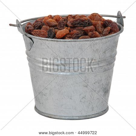 Sultanas In A Miniature Metal Bucket